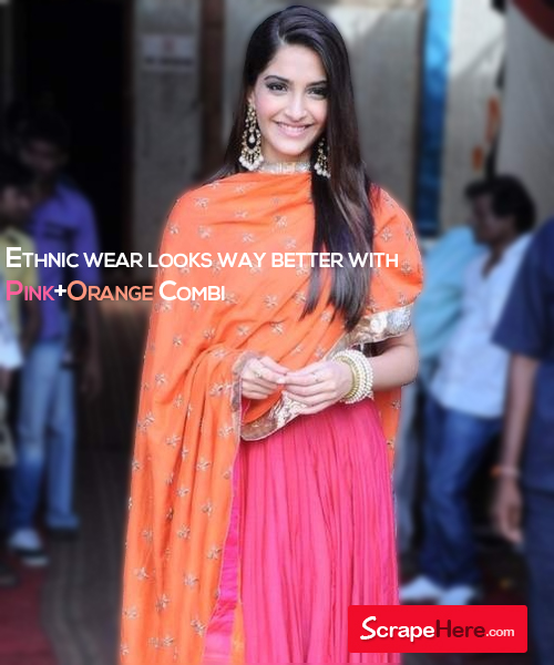 Sonam Kapoor Pink-Orange Fashionable Ethnic Salwar Suit